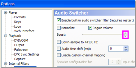 Windows Media Player Classic Options Audio Switcher