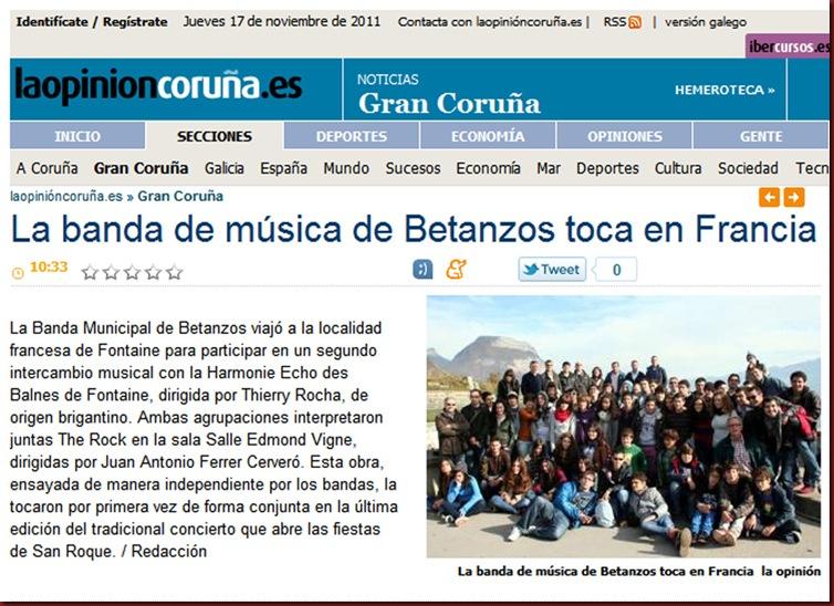 Recorte de la edición digital del periódico La Opinión correspondiente al jueves 17 de noviembre de 2011.