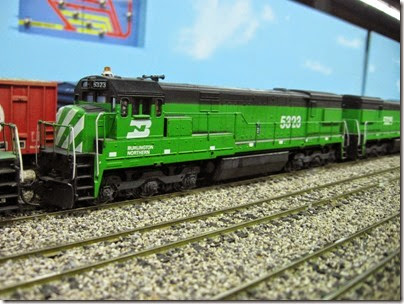 IMG_5460 Burlington Northern U30C #5323 on the LK&R HO-Scale Layout at the WGH Show in Portland, OR on February 17, 2007