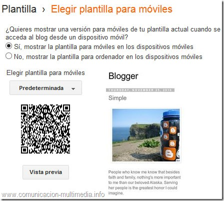 Menú de Blogger para activar o desactivar la versión móvil.