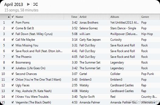 april 2013 playlist