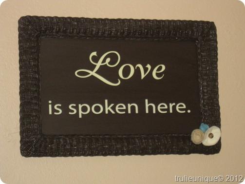 love is spoken here, trash to treasure, wall plaque, DIY home decor