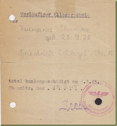 Certificate of total bombing destruction of home March 1945