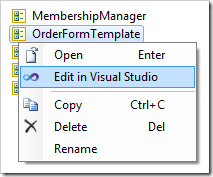 Edit in Visual Studio context menu option for a user control node in the Project Explorer.