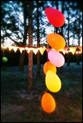 balloons bunting lights