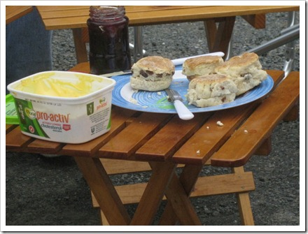 Hot scones for morning tea in Kaikoura made by Geoff.