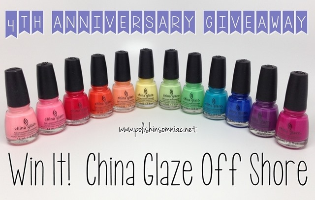 Enter to win the China Glaze Off Shore Collection as part of polish insomiac's 4th annivesary giveaway!