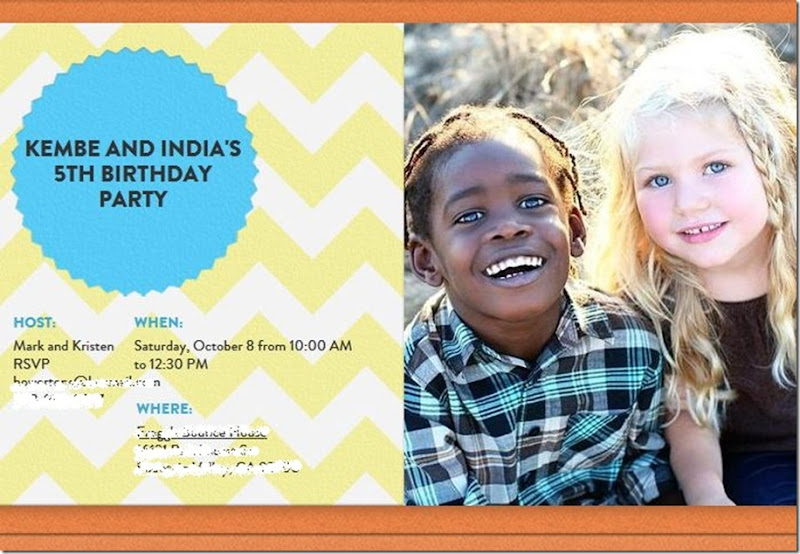 kembe and india birthday invite