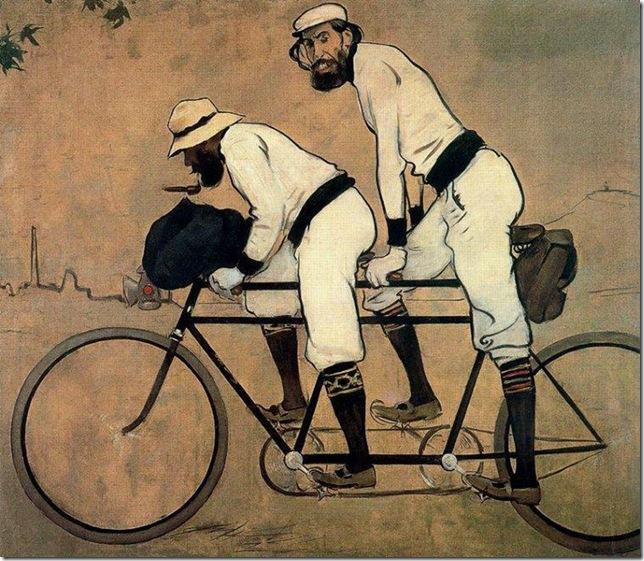 ramon casas i carbo_Casas y Romeu en tándem (1897)