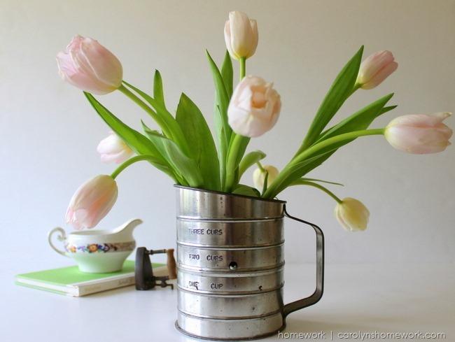 Repurposed Vintage Sifter to Vase with tulips via homework | carolynshomework.com