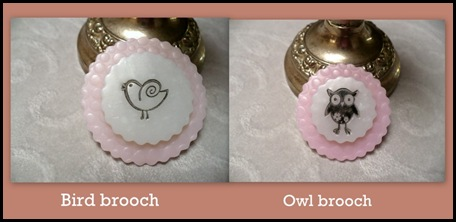 Bird and flower brooches