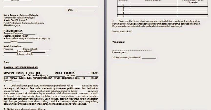 Surat Rayuan Pertukaran Guru Dalam Daerah Jalan Kutai B