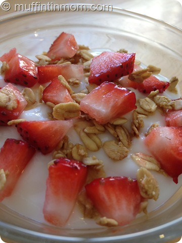 strawberries yogurt granola