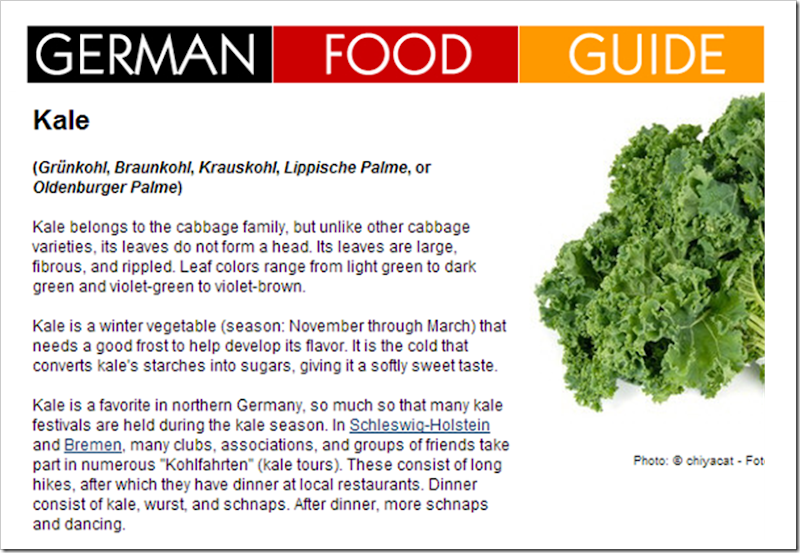 german food guide kale