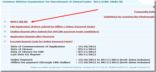 IBPS clerk Online apply