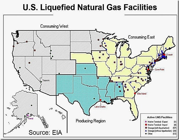 Active LNG Facilities USA map