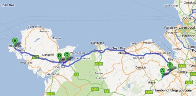Mold - Bangor - Llanfairpwll - Holyhead