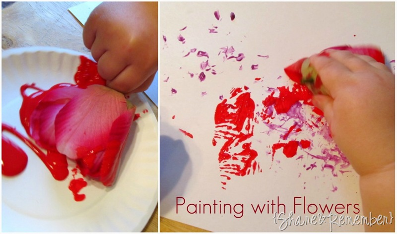 Painting with flowers preschool art