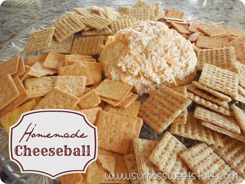 Homemade cheeseball recipe at www.sumossweetstuff.com. Only three ingredients, and people love it! #recipe #appetizer
