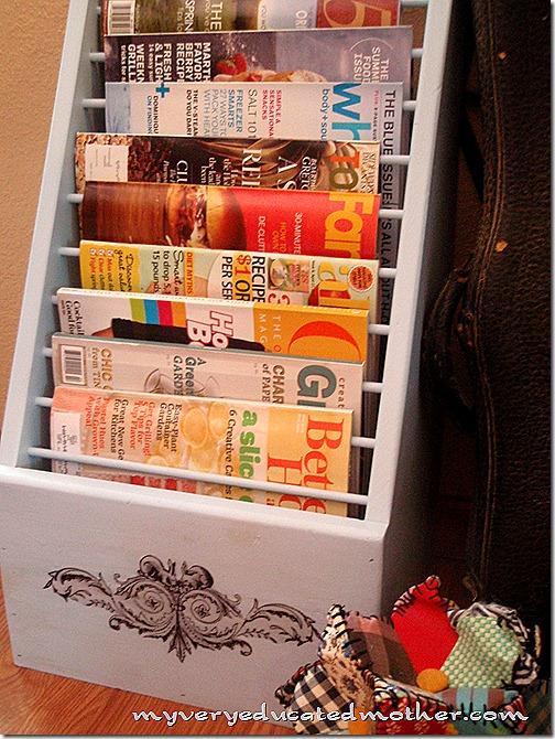 upcycled, refurbished, recycled, remade, magazine rack