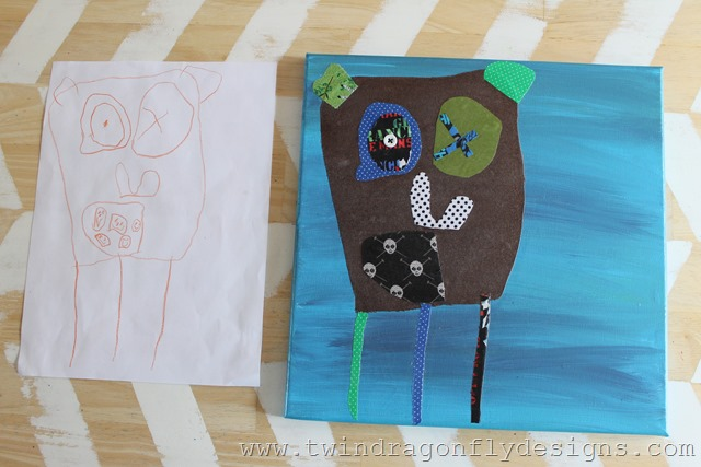 Fabric Piecing Art from a childs drawing
