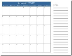 August Calendar with Notes