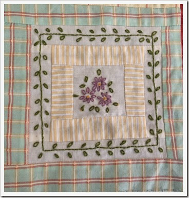 purple flower stitchery
