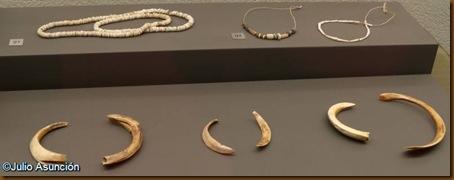 Collares de cuentas de piedra y colmillos de jabalí usados como elementos de adorno - Museo de Navarra