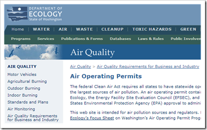 Washington State Department of Ecology Air Quality Operating Permits