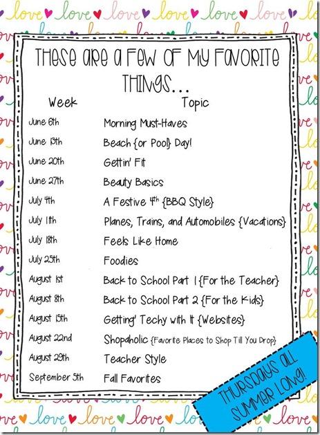 Favorite Things Linky Schedule