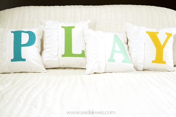 ruffled monogram pillows