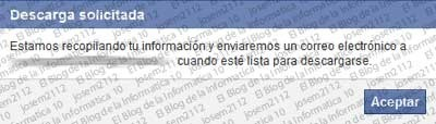 Copia de seguridad de Facebook - descarga solicitada