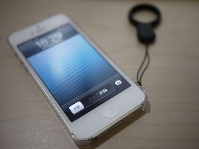 iPhone5にストラップ