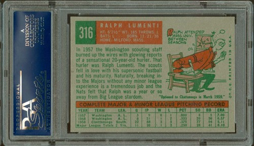 1959 Topps 316A ralph lumenti with option statement back
