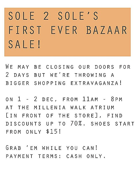 SOLE 2 SOLE's sale shoes bazaar Millenia Walk discounts