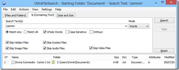 UltraFileSearch ricerca file per parola o frase contenute