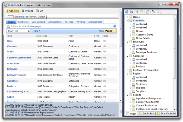Project Designer window with Generate button on the toolbar highlighted.