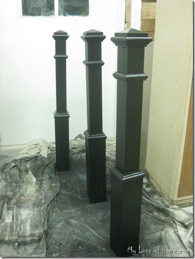 spray paint newel posts, stair posts
