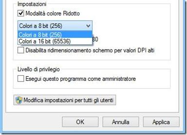 Modalità compatibilità Windows 8 - Impostazioni