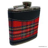 Hip Flask, 6oz with tartan