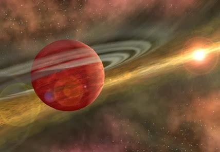 ilustração do exoplaneta distante de sua estrela