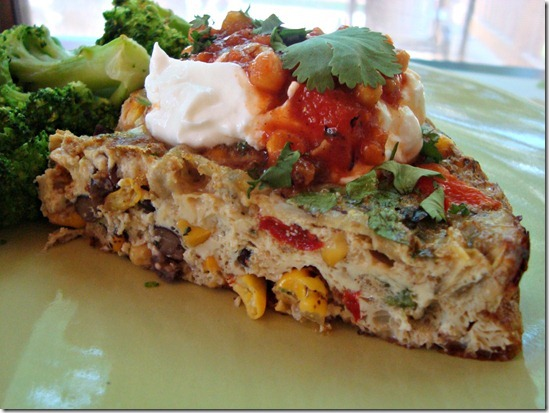 black bean, corn, and cilantro frittata