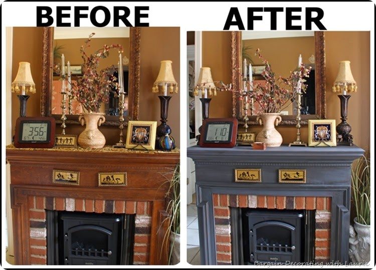 Painted Fireplace-Bargain Decorating with Laurie