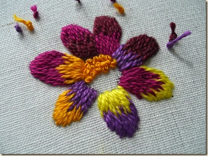 Long & Short Stitch Flower - stitching in only one direction against the S twist