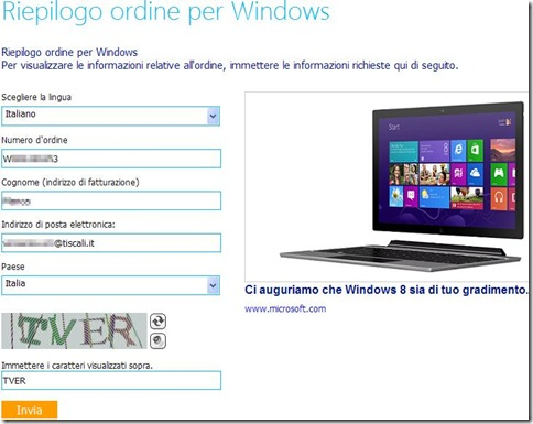 Riepilogo ordine per Windows 8