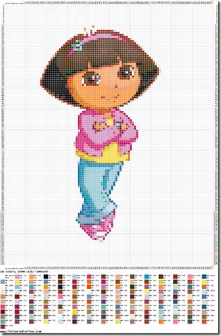 grátis infantil ponto cruz da Dora