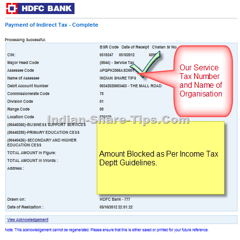 Indian Share Tips Service Tax for Qtr ending Sep 2012
