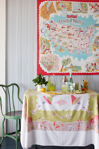 The United States map textile was stretched over a wooden frame to create this piece. (Martha Stewart Living, July 2010)