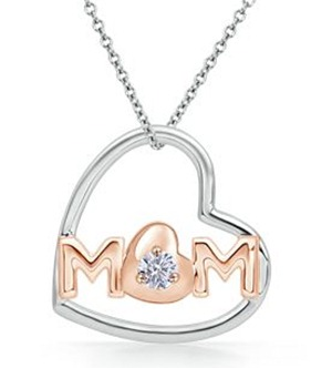 MOM Pendant With Pink Gold Plating With Diamond in 14k White Gold
