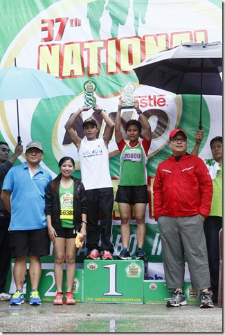 1 - Maclin Sadia and Adjennie Delos Santos conquered the Iloilo tracks against veteran contenders Sunday at the 37th National M